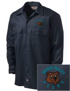 Browns Valley Elementary School Bears Embroidered Dickies Men's Long-Sleeve Workshirt