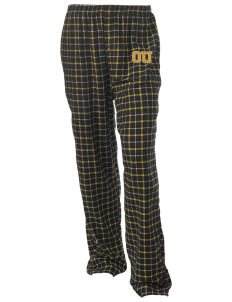 Oakland Unity High School Tigers Unisex Button-Fly Collegiate Flannel Pant with Distressed Applique