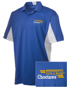 Mississippi College Choctaws Embroidered Men's Side Blocked Micro Pique Polo