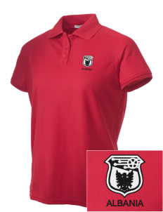 Albania Soccer Embroidered Women's Technical Performance Polo
