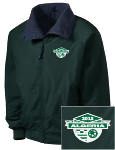 Algeria Soccer Embroidered Men's Fleece-Lined Jacket
