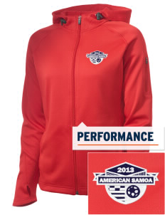 American Samoa Soccer Embroidered Women's Tech Fleece Full-Zip Hooded Jacket