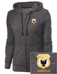 Angola Soccer Embroidered Women's Marled Full-Zip Hooded Sweatshirt