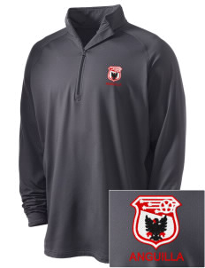 Anguilla Soccer Embroidered Men's Stretched Half Zip Pullover