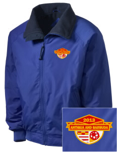 Antigua and Barbuda Soccer Embroidered Men's Fleece-Lined Jacket