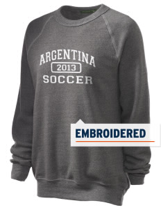 Argentina Soccer Embroidered Unisex Alternative Eco-Fleece Raglan Sweatshirt