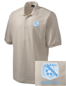 Argentina Soccer Embroidered Nike Men's Pique Knit Golf Polo