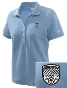 Argentina Soccer Embroidered Nike Women's Pique Golf Polo