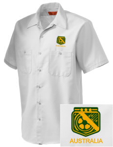 Australia Soccer Embroidered Men's Cornerstone Industrial Short Sleeve Work Shirt