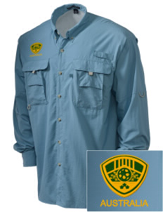Australia Soccer Embroidered Men's Explorer Shirt with Pockets