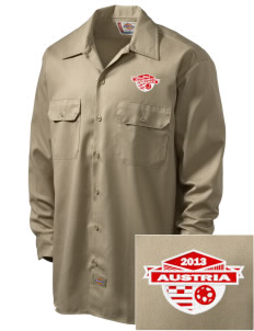 Austria Soccer Embroidered Dickies Men's Long-Sleeve Workshirt