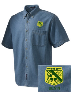 Benin Soccer  Embroidered Men's Denim Short Sleeve