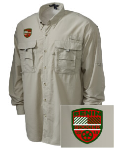 Benin Soccer Embroidered Men's Explorer Shirt with Pockets