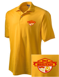 Bhutan Soccer Embroidered Men's Jersey Polo