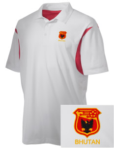 Bhutan Soccer Embroidered Men's Back Blocked Micro Pique Polo
