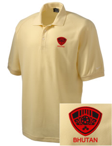 Bhutan Soccer Embroidered Nike Men's Pique Knit Golf Polo