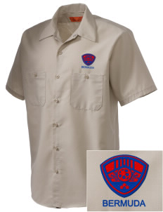 Bermuda Soccer Embroidered Men's Cornerstone Industrial Short Sleeve Work Shirt