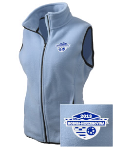 Bosnia-Herzegovina Soccer Embroidered Women's Fleece Vest