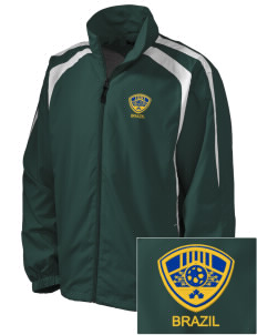 Brazil Soccer Embroidered Men's Colorblock Raglan Jacket