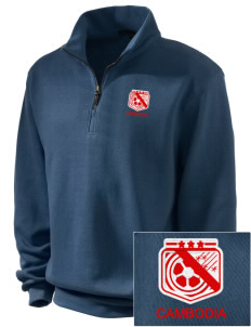Cambodia Soccer Embroidered Men's 1/4-Zip Sweatshirt
