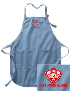 Cape Verde Islands Soccer Embroidered Full-Length Apron with Pockets