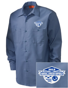 Central African Republic Soccer Embroidered Men's Industrial Work Shirt - Regular