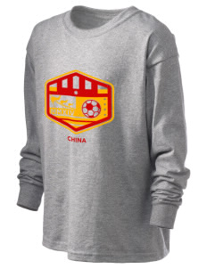 China Soccer Kid's 6.1 oz Long Sleeve Ultra Cotton T-Shirt