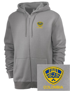 Colombia Soccer Embroidered Men's Mini Stripe Full Zip Hooded Sweatshirt