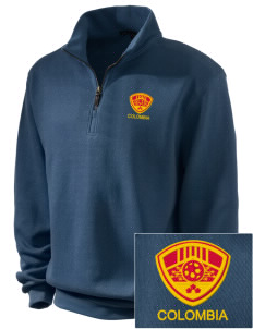 Colombia Soccer Embroidered Men's 1/4-Zip Sweatshirt