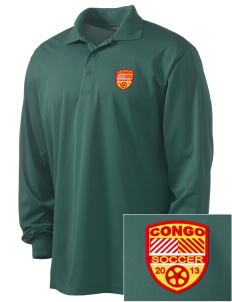 Congo Soccer Embroidered Men's Long Sleeve Micropique Sport-Wick Sport Shirt