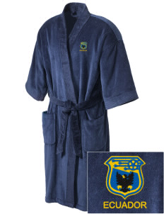 Ecuador Soccer Embroidered Terry Velour Robe
