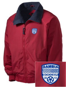 Gambia Soccer Embroidered Men's Fleece-Lined Jacket