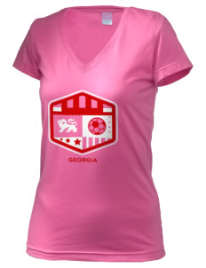 Georgia Soccer Juniors' Fine Jersey V-Neck Longer Length T-shirt