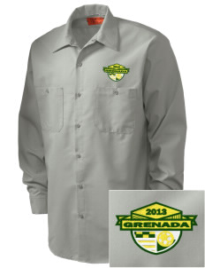Grenada Soccer Embroidered Men's Industrial Work Shirt - Regular