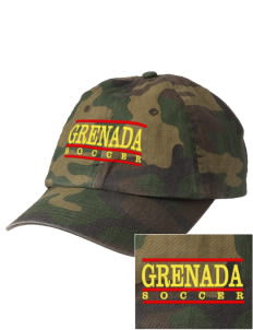 Grenada Soccer Embroidered Camouflage Cotton Cap