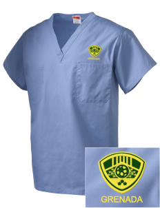 Grenada Soccer Embroidered V-Neck Scrub Top