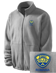 Romania Soccer Embroidered Men's Fleece Jacket