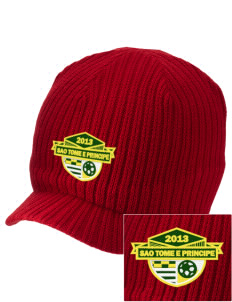 Sao Tome e Principe Soccer Embroidered Knit Beanie with Visor