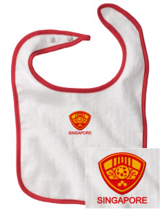 Singapore Soccer Embroidered Baby Snap Terry Bib