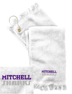Mitchell Elementary School Sharks  Embroidered Grommeted Finger Tip Towel