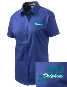 Marvin A Dutcher Elementary School Dolphins Embroidered Women's Easy Care Short Sleeve Shirt