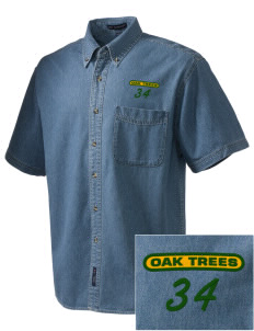Anderson Partnership Learning Center Oak Trees  Embroidered Men's Denim Short Sleeve