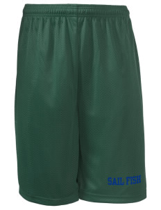 "Felix A Williams Elementary School Sail Fish Long Mesh Shorts, 9"" Inseam"