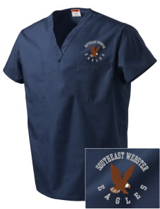 Southeast Webster Middle School Eagles Embroidered V-Neck Scrub Top