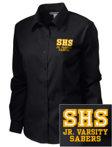 Souhegan High School Sabers  Embroidered Women's Long Sleeve Non-Iron Twill Shirt