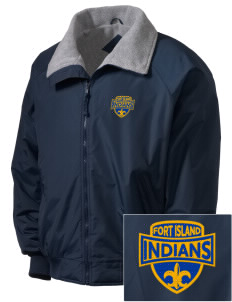 Fort Island Primary School Indians Embroidered Men's Fleece-Lined Jacket