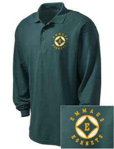 Emmaus High School Hornets Embroidered Men's Silk Touch Long-Sleeve Polo