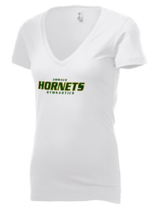 Emmaus High School Hornets Women's 4.2 oz Jersey Deep V-Neck T-Shirt
