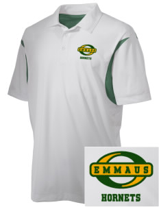 Emmaus High School Hornets Embroidered Men's Back Blocked Micro Pique Polo