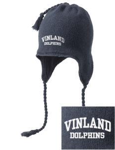 Vinland Elementary School Dolphins Embroidered Knit Hat with Earflaps